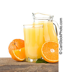 orange juice in glass and slices isolated on white...