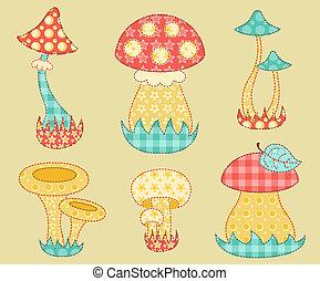 Vintage mushroom patchwork set - Vintage mushroom set...