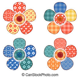 Set of four patchwork flower Vector illustration Isolated on...