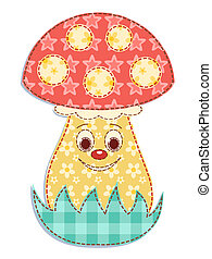 Cartoon patchwork mushroom 2. Vector illustration.