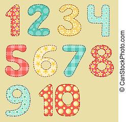 Vintage numbers patchwork set.