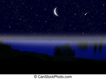 half moon in the night sky over a water smooth surface