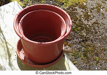 Two Empty Flowerpots and a Saucer