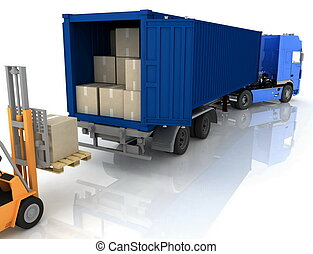 Loading of boxes is isolated in a container on a white...