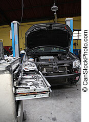 View of a vehicle being repaired