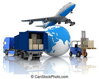 airliner with a globe and autoloader with boxes in a...