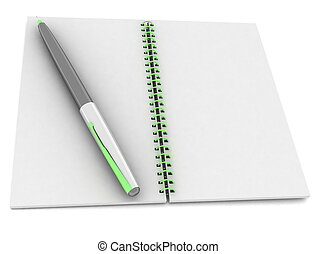 notebook and pen on white backgrou
