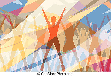 Aerobic dance - Colorful editable vector illustration of...