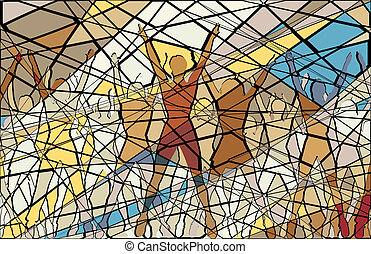 Aerobic mosaic - Editable vector mosaic illustration of...