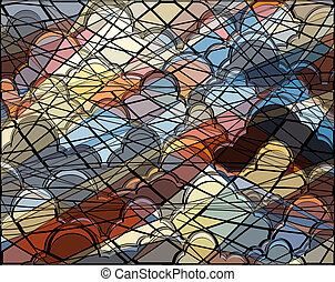 Cloud mosaic - Abstract editable vector illustration of a...