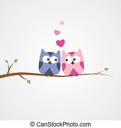 owls in love - two owls in love, simple romantic...