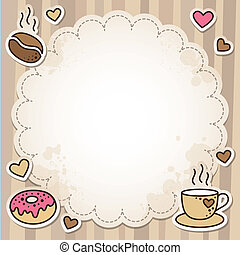 coffee frame - vintage frame with coffee beans, cup and...