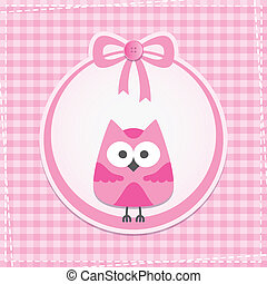 baby frame with owl, vector eps 10