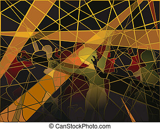 Disco mosaic - Editable vector silhouettes of people dancing...