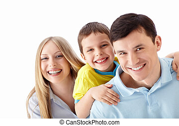 Smiling family - Happy family on a white background