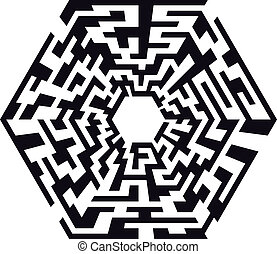 hexaeder maze - illustration of an abstract maze with the...