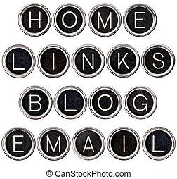 Vintage Blog, Home, Links and Email Keys