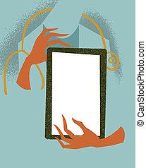 Doctor holding a tablet. Medical illustration.
