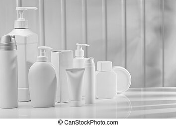 big composition of skincare items
