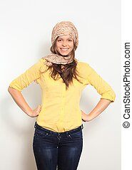beautiful young smiling woman with a scarf hippie