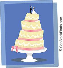 Vanilla Wedding Cake - A multi-layered, stylized vanilla...