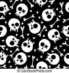 skulls seamless pattern - Black and white seamless pattern...