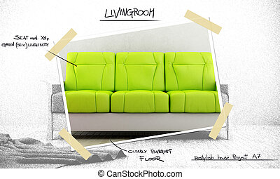 Interior design project - Green modern sofa for project...