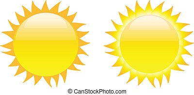 Set of glossy sun images isolated on white background....