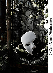 Masquerade - Phantom of the Opera Mask on Rusty Chainlink...