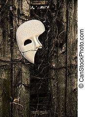 Masquerade - Phantom of the Opera Mask on Weathered Fence