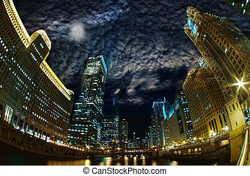 Majestic Chicago - Windy City Riverfront at Night