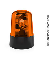 Flashing light - 3d render of orange flashing light on a...