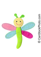 Dragonfly Soft Toy on White Background