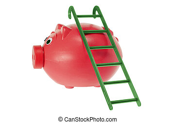 Piggy Bank with Ladder on White Background