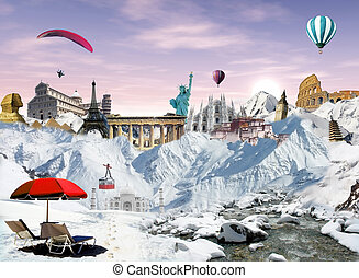Mountain view with world landmarks