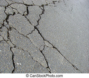 road with crack damage