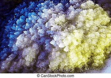 Sea salt crystals are in the Dead sea