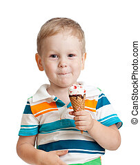 happy kid boy eating ice cream in studio isolated