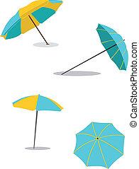 Beach umbrella. Set of umbrellas. Protection against the sun