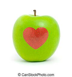 verde, maçã, vermelho, Coração