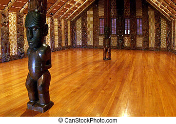 Interior of a Marae Maori Metting House - Interior view of...