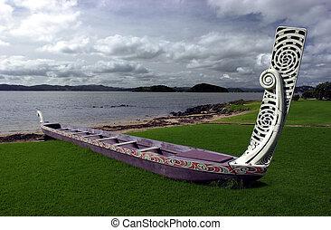 tradicional, nuevo,  maorí,  waka,  Zealand