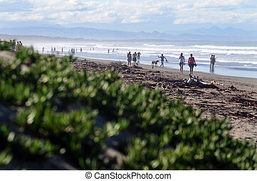New Zealand Christchurch - People enjoy the sea and sand at...