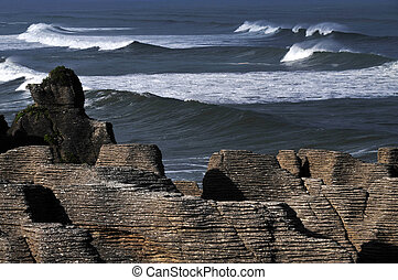 New Zealand South Island Pancake Rocks - Pancake rocks in...