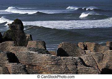 New Zealand South Island Pancake Rocks - Pancake rocks in...