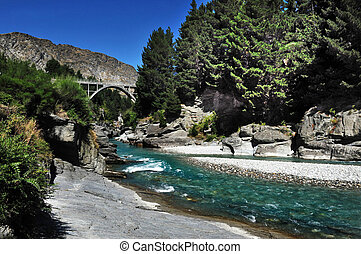 Queenstown River New Zealand - River in Queenstown, south...