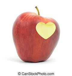 Coração, Símbolo, maçã, vermelho