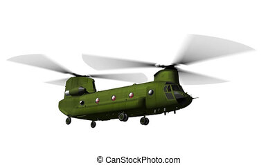 Chinook CH-47 flying on white matt - Render of Chinook CH-47...