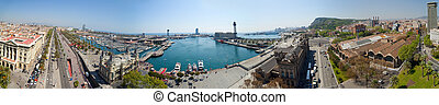 Panorama view of Barcelona port Spain