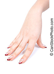 Woman hand with manicured acrylic nails